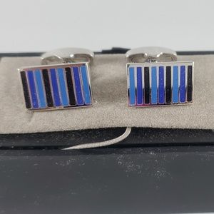 NEW Jos. A Bank silver tone shades blue cuff link